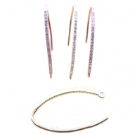 monachella orecchini ovali zirconi argento 925 placcato oro rosè 30x15 mm 2 pz.