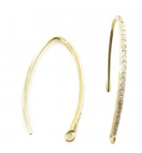 monachella orecchini ovali lunghi zirconi argento 925 placcato oro giallo 35x20 mm 2 pz.