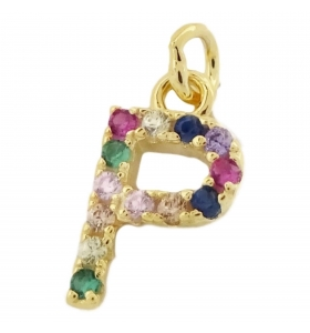 charms lettera P zirconi multi color argento 925 placcato oro giallo