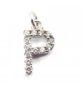 charms iniziale lettera P zirconi bianchi  argento 925 rodiato  1 pz