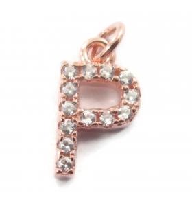 charms iniziale lettera P zirconi bianchi  argento 925 placcato oro rosè  1 pz