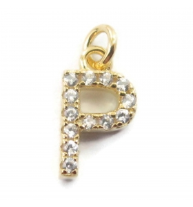 charms iniziale lettera P zirconi bianchi  argento 925 placcato oro giallo  1 pz