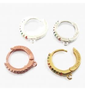 orecchini cerchio zirconi multicolor argento 925 placcato oro rosè 12 mm 2 pz.