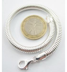 bracciale snake diametro 5 mm argento 925 lungo 20 cm di produzione italiana