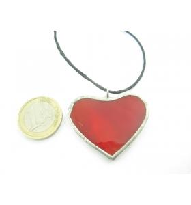cinodolo cuore in vetro rosso realizzato con tecnica Tiffany