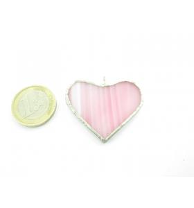 cinodolo cuore in vetro rosa realizzato con tecnica Tiffany