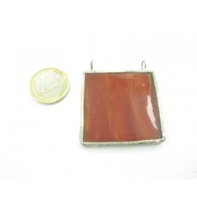 cinodolo quadrato in vetro rosso/arancio realizzato con tecnica Tiffany
