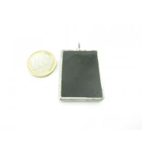 ciondolo rettangolare in vetro nero realizzato con tecnica Tiffany