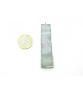 ciondolo rettangolare lungo in vetro grigio sfumato realizzato con tecnica Tiffany