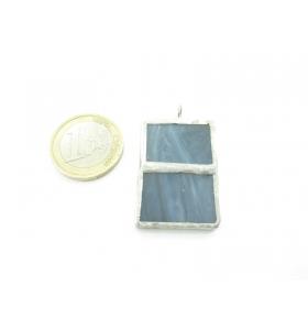 ciondolo rettangolare doppio in vetro grigio sfumato realizzato con tecnica Tiffany