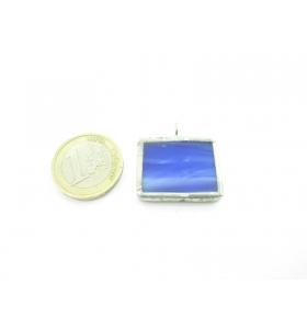 ciondolo rettangolare piccolo in vetro blu sfumato realizzato con tecnica Tiffany