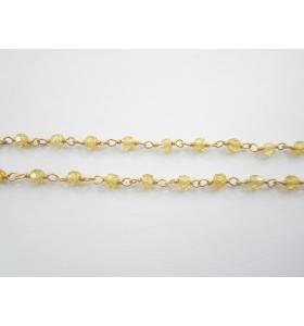 catena rosario argento 925 placcato oro giallo e zircone giallo - 50 cm
