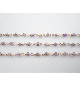 catena rosario argento 925 placcato oro giallo ametista - 50 cm