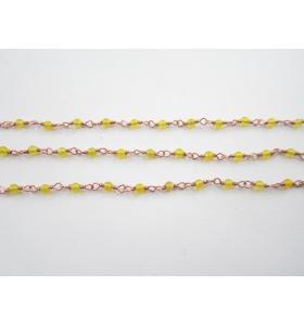 catena rosario argento 925 placcato oro rosa e giada gialla - 50 cm