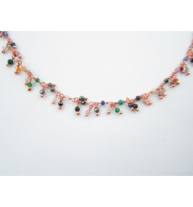 catena rosario con pietre mixcolor pendenti argento 925 placcato oro rosa - 50 cm