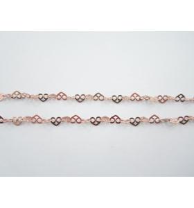 10 cm di catena argento 925  placcato oro rosa cuori 3 fori concatenati di 5x4 mm