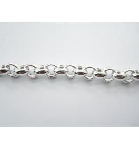 catena rolò di 8x3,5 mm argento 925 vuoto- 50 cm
