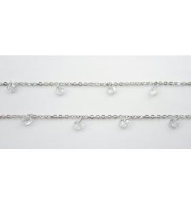 catena acciaio chirurgico con zirconi tondi bianchi- 50 cm