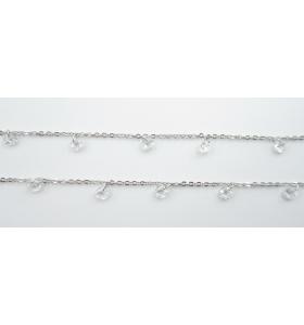 catena acciaio chirurgico con zirconi forma cuore bianchi di 5x5 mm- 50 cm