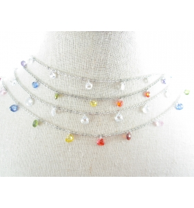 catena acciaio chirurgico con zirconi forma cuore multicolor di 5x5 mm- 50 cm