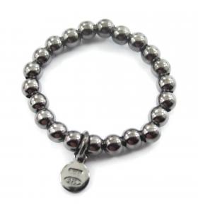 anello regolabile elastico in argento 925 rodiato nero pallini di 3 mm