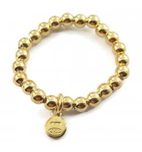 anello regolabile elastico in argento 925 placcato oro giallo pallini di 3 mm