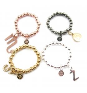 anello regolabile elastico in argento 925 placcato oro rosa pallini di 3 mm