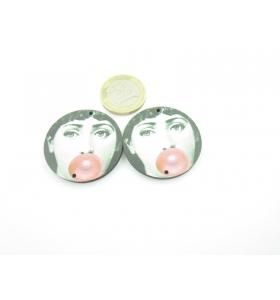 2 basi per orecchini legno 2 fori viso con palloncino rosso Fornasetti