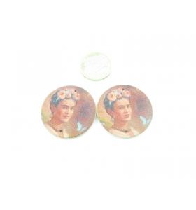 2 basi per orecchini legno 2 fori Frida Kahlo