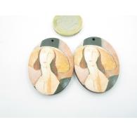 2 basi per orecchini legno 1 foro Modigliani