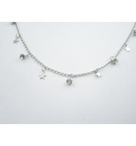catena acciaio chirurgico con zirconi e stelle - 50 cm