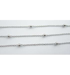 catena acciaio chirurgico ovali zigrinati di 3,8x3 mm - 50 cm