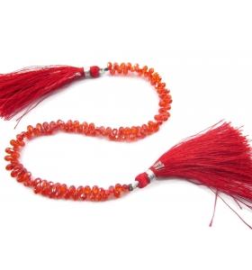 1 filo Zircone goccia arancione  taglio briolè di 5x3 mm