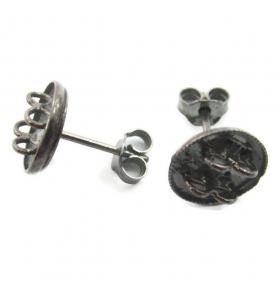 orecchini perno con 4 anellini aperti argento 925 rodiato nero di 13x10 mm 2pz
