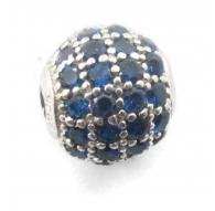 Distanziatore pallina 10 mm con zirconi blu argento 925 rodiato 1 pz