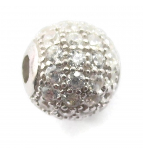 Distanziatore pallina 10 mm con zirconi bianchi argento 925 rodiato 1 pz