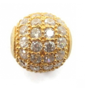 Distanziatore pallina 10 mm con zirconi bianchi argento 925 placcato oro giallo 1 pz