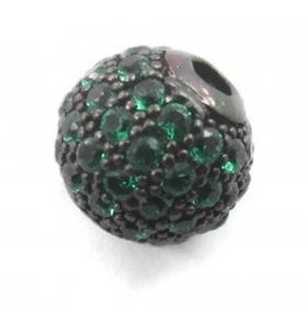 Distanziatore pallina 10 mm con zirconi verdi argento 925 rodiato nero 1 pz