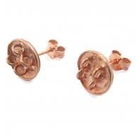 orecchini perno con 4 anellini aperti argento 925 placcato oro rosè di 13x10 mm 2pz