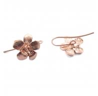 monachelle orecchini fiore argento 925 placcato oro rosè di 25x15 mm 2 pz
