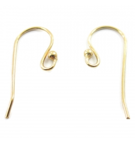 vendita monachella orecchino ad amo semplice frontale pallina argento 925 placcato oro giallo
