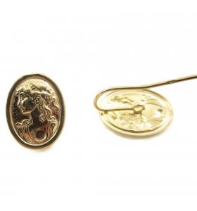 Orecchini sbalzati cammeo argento 925 placcato oro giallo 26x14 mm - 2pz