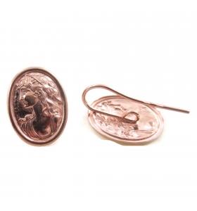 Orecchini sbalzati cammeo argento 925 placcato oro rosè 26x14 mm - 2pz