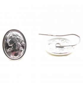 Orecchini sbalzati cammeo argento 925  26x14 mm - 2pz