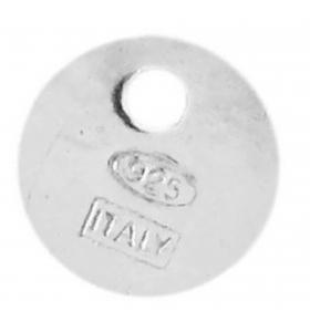 3 etichette tonde 6 mm. in argento 925 punzonate italy 925