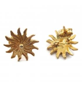 Orecchini perno sole argento 925  placcato oro di 15 mm - 2pz