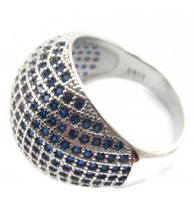 anello bombato zirconi zaffiro argento 925 misura 15