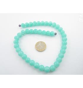 1 filo di perle di vetro color azzurro acqua  diametro 10 mm.