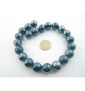 1 filo di perle di ceramica color blu metallizzato  diametro 16 mm.