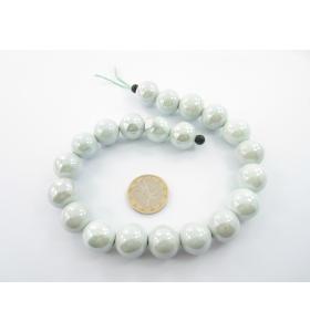 1 filo di perle di ceramica color grigio chiaro metallizzato  diametro 16 mm.